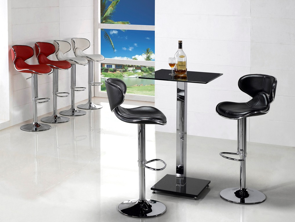 Modern black or clear glass 2 seater dining table for Bar stool kitchen table
