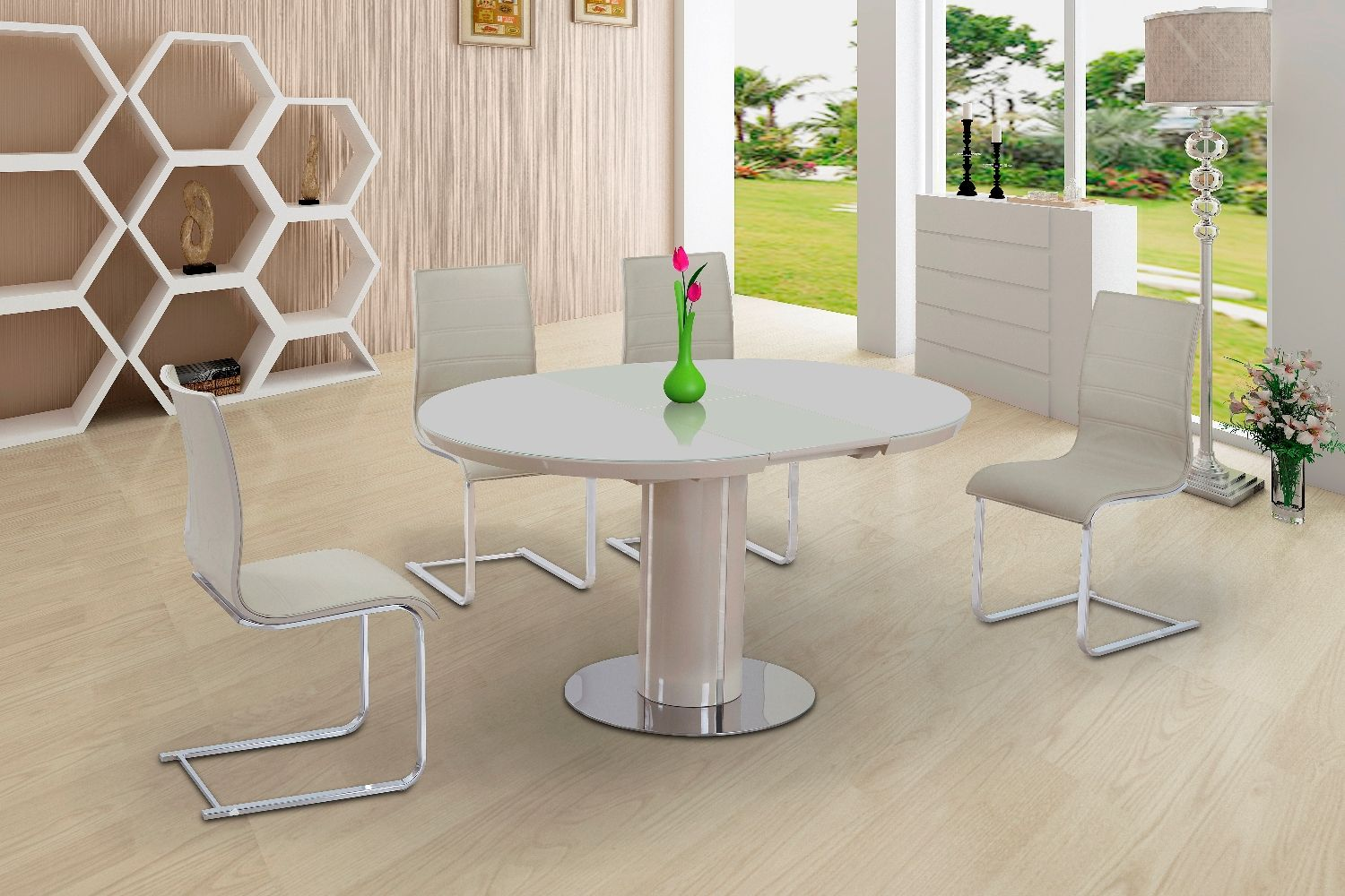Harveys Round Glass Dining Table And ChairsFull Size Of  : eclipse round oval gloss glass extending 110 to 145 cm dining table cream 11774 p from algarveglobal.com size 1500 x 1000 jpeg 215kB