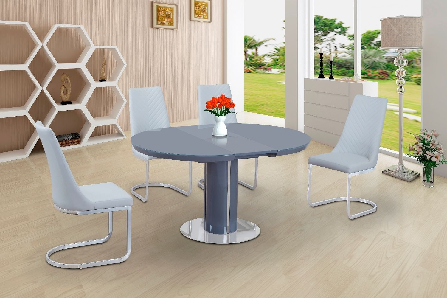 ECLIPSE Round Oval Gloss Glass Extending 110 to 145 cm Dining
