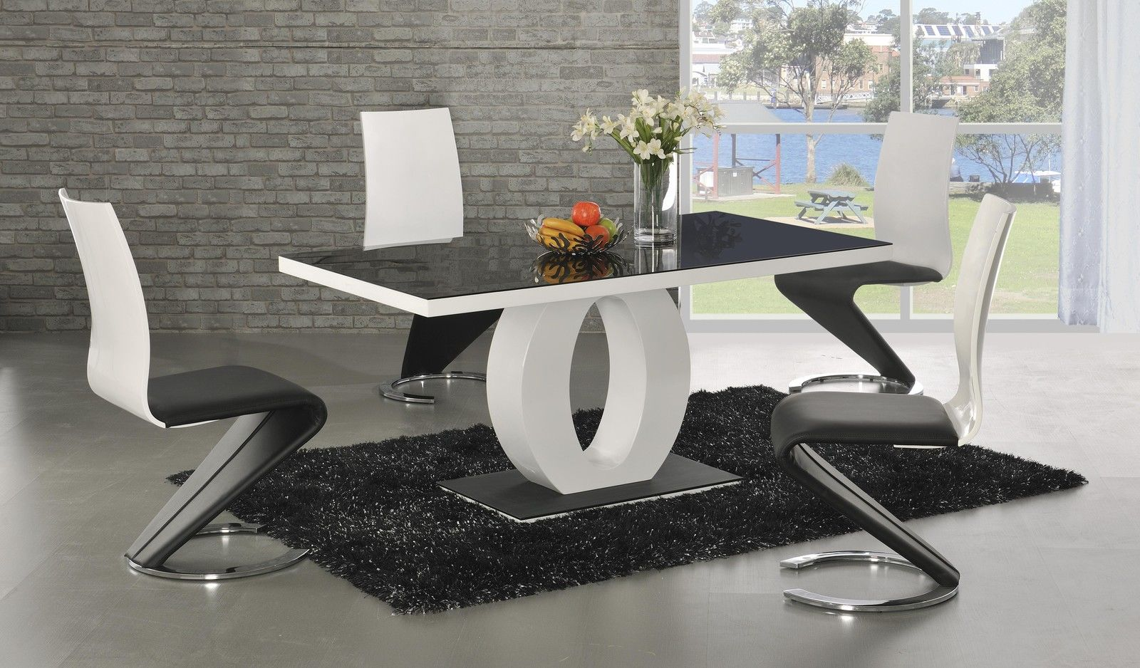 Ga angel black glass white gloss 160 cm designer dining for Black white dining room set