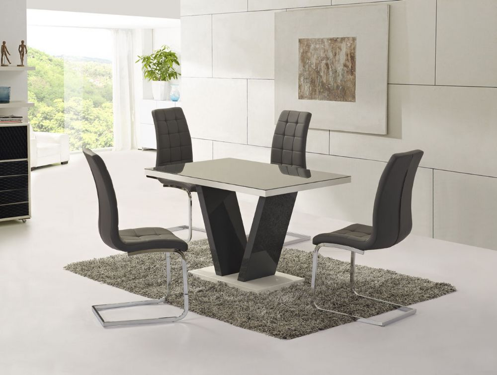Ga vico gloss grey glass top designer 160cm dining set 4 for Glass top dining table sets