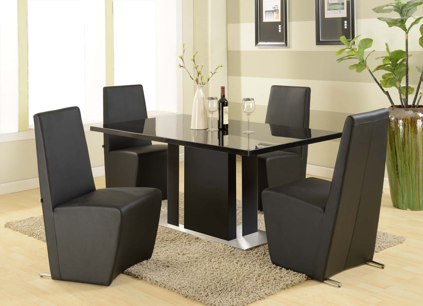 Modern furniture table home design roosa for Black dining room table set