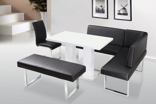 Liberty high gloss dining table corner bench standard bench - Dining room table with corner bench ...