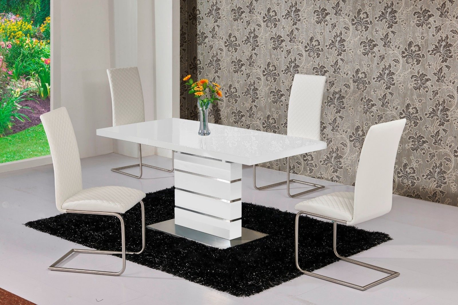 Mace high gloss extending 120 160 dining table chair set for White extending dining table