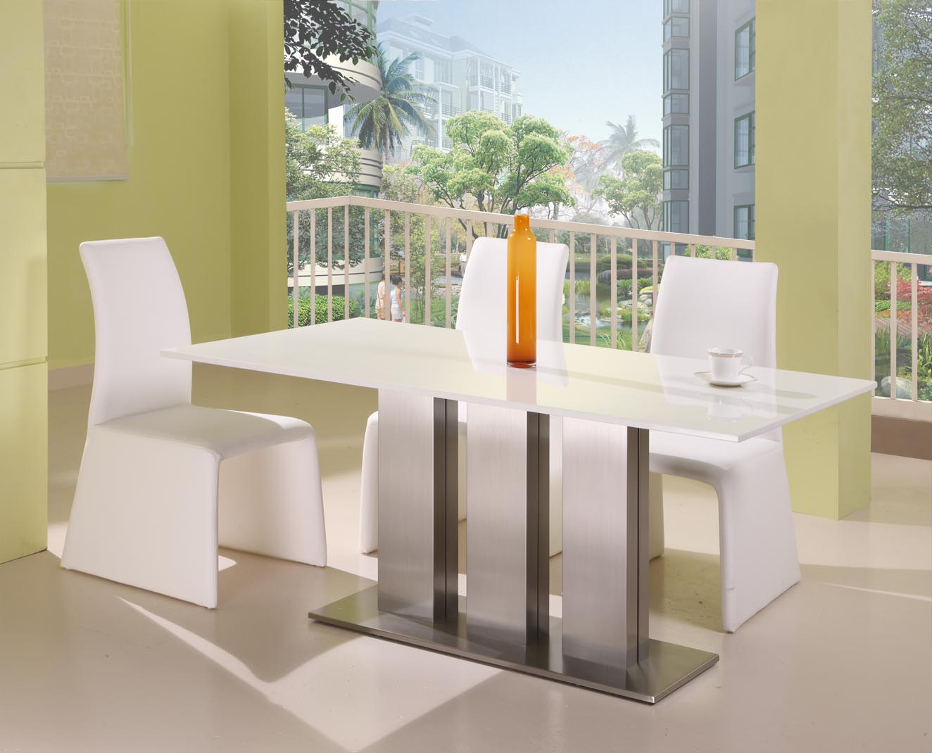White Round Modern Dining Table kitchen modern table set round sets contemporary glass white