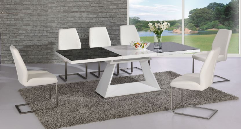 Silvano extending black white high gloss contemporary for Modern high dining table