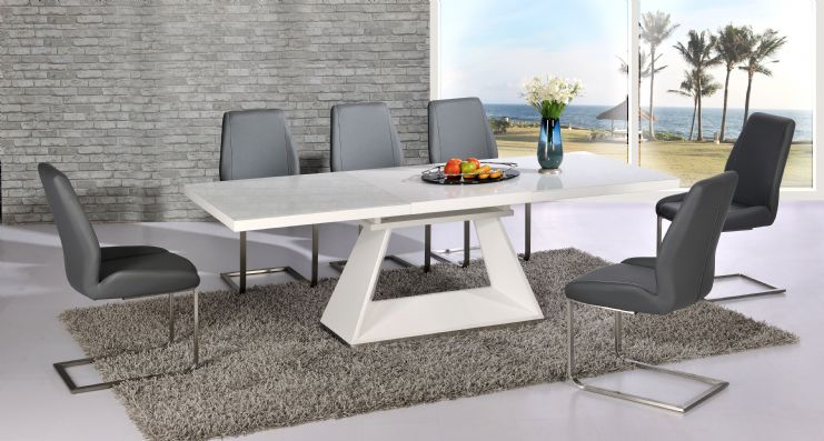 silvano extending white high gloss dining table dalia grey dining chairs