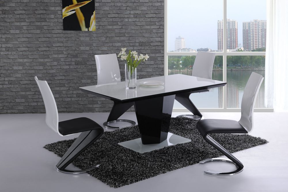 Swish black high gloss white glass designer dining table only or with 4 6 saveo leather chairs set - Designer glass dining tables ...