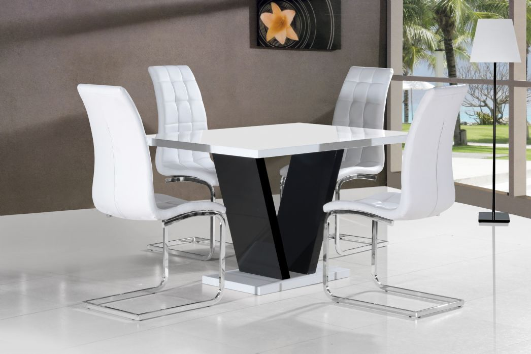Vico White Black Gloss Contemporary Designer 120cm Dining
