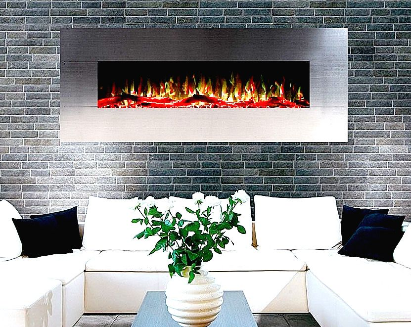 50 INCH LUXURY LED  BRUSHED STEEL WALL MOUNTED ELECTRIC FIRE