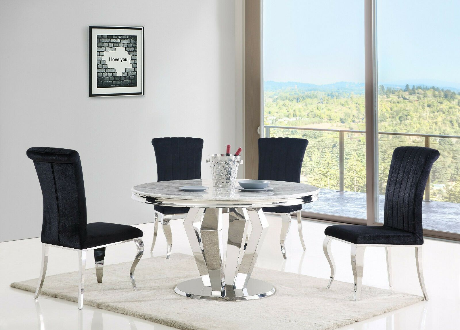 Amalfi Grey Marble Round Dining Table 4 Black Grey Dining Chairs