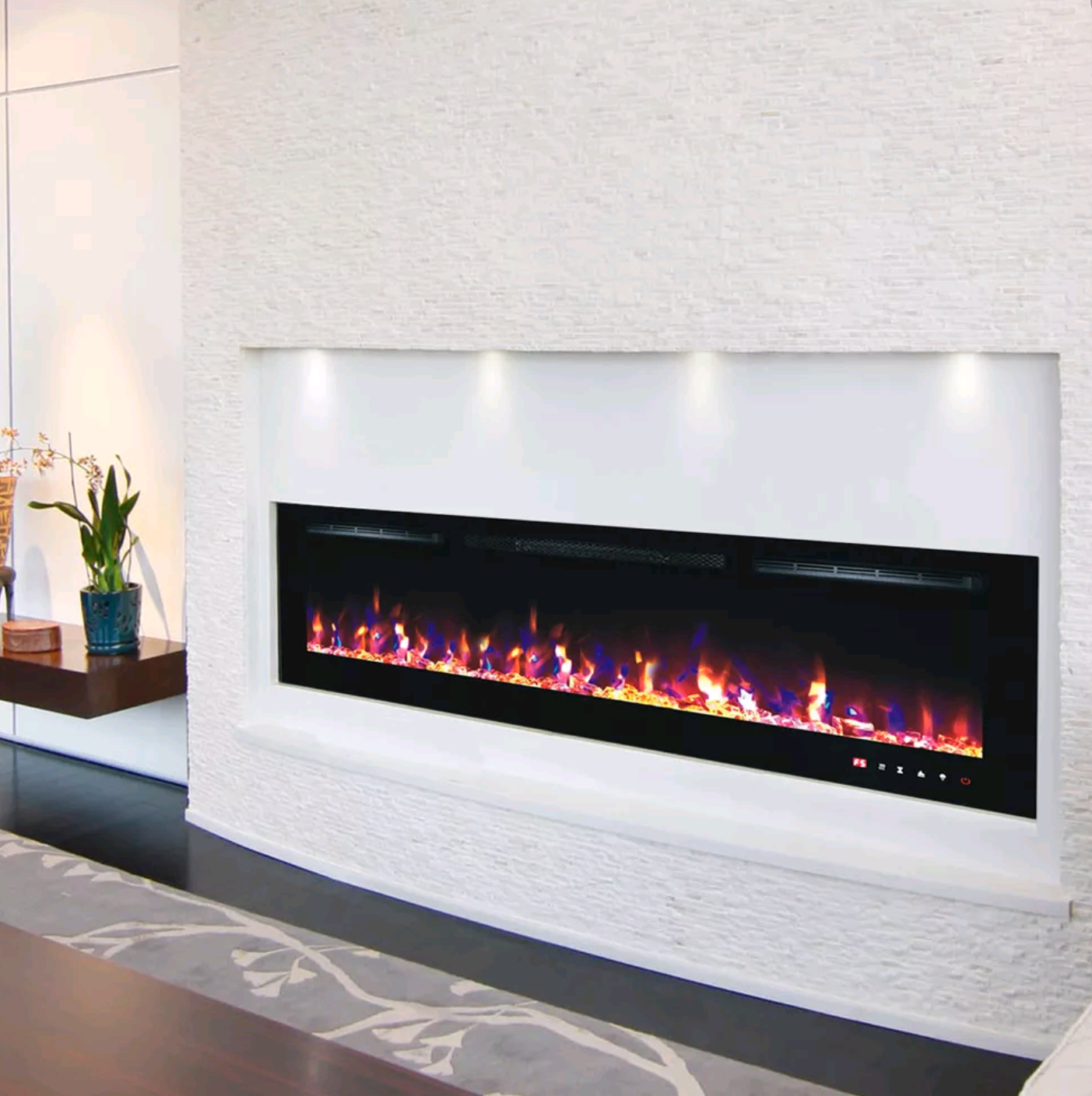 Branded 72 Inch Led Flames Modern Black White Glass Wall