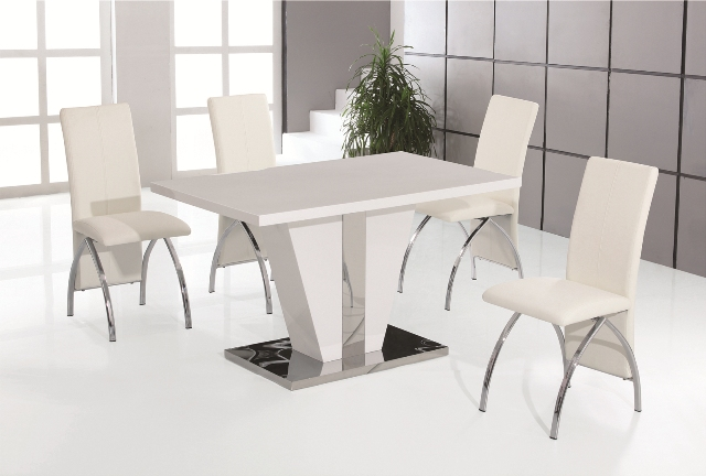 Costilla White High Gloss Dining Table with 4 White Faux Leather Chrome Chairs