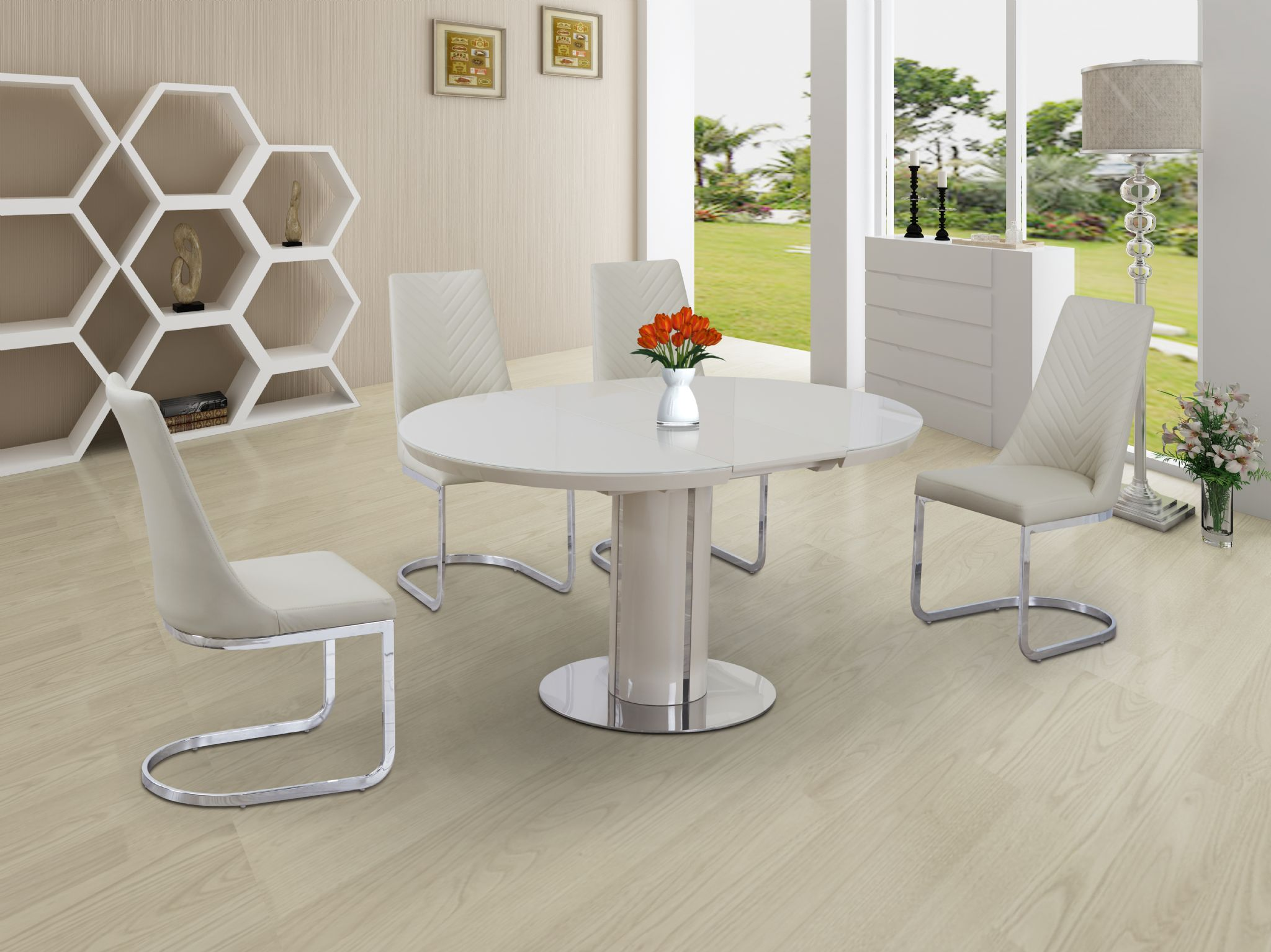 ECLIPSE Round Oval Gloss U0026 Glass Extending 110 To 145 Cm Dining Table    CREAM
