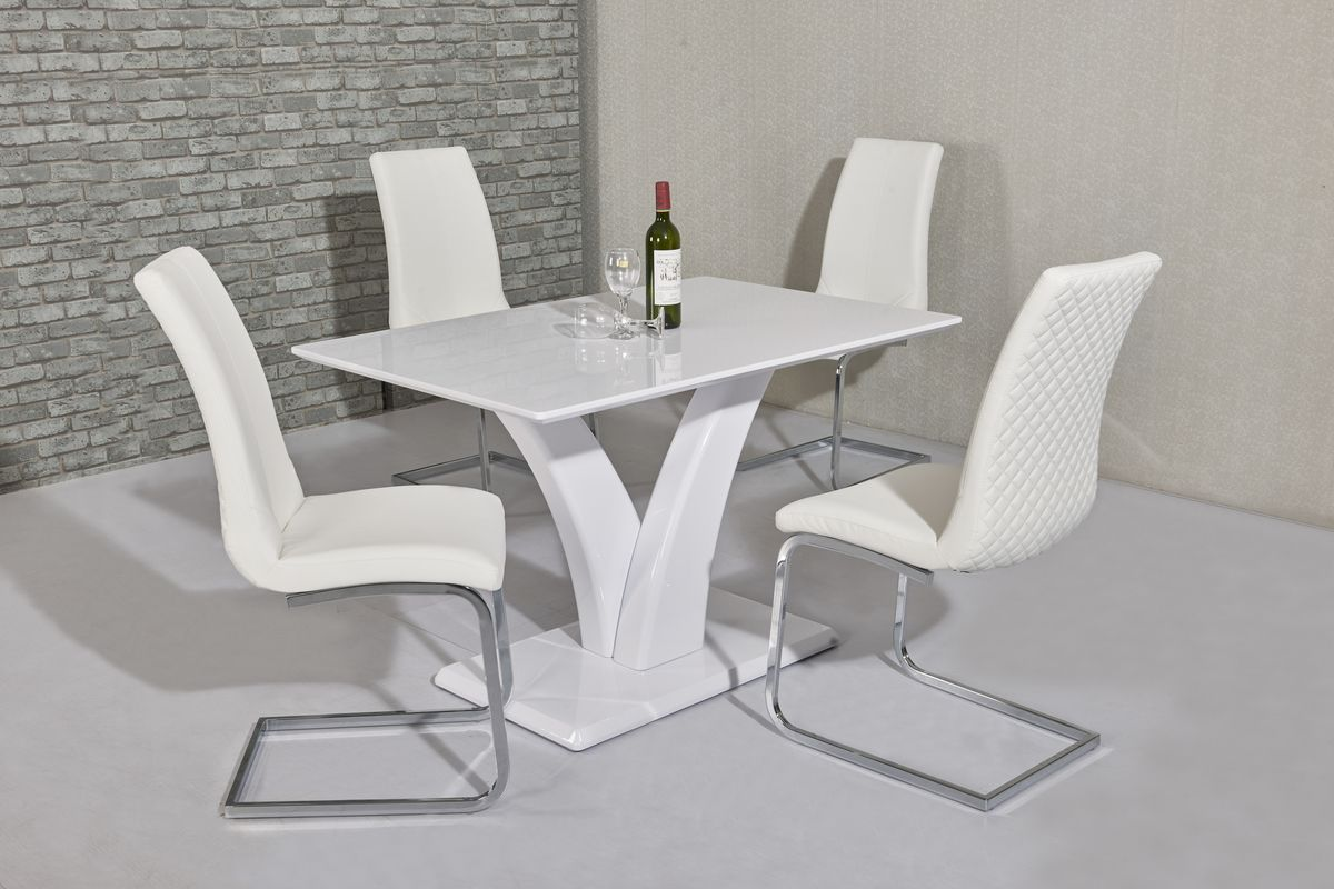 Ga Elsa White Dining Table Amp 4 White Black Grey Chairs