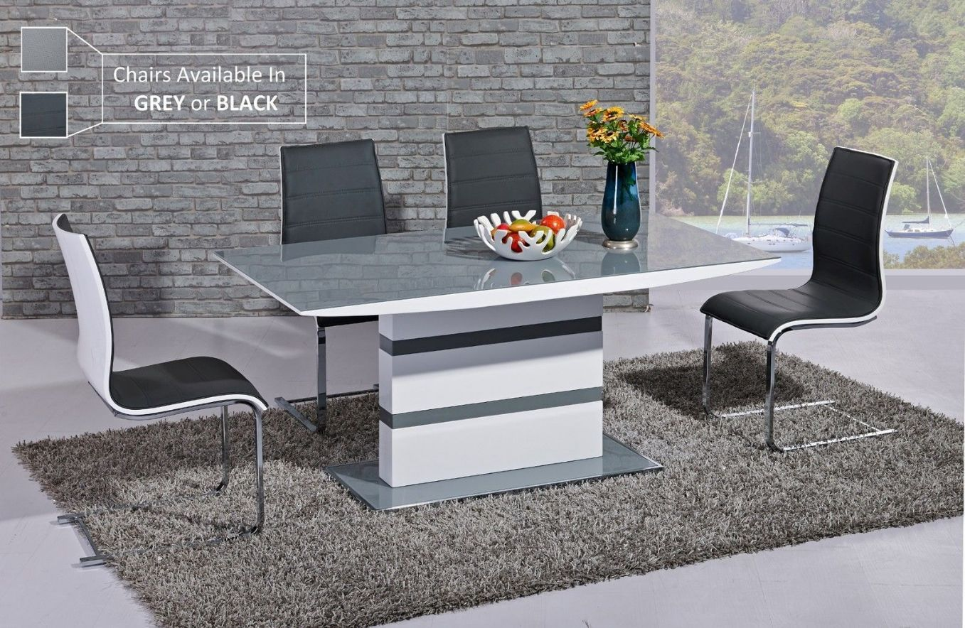 GA K2 Designer White Gloss Grey Glass 160 Cm Dining Set 4