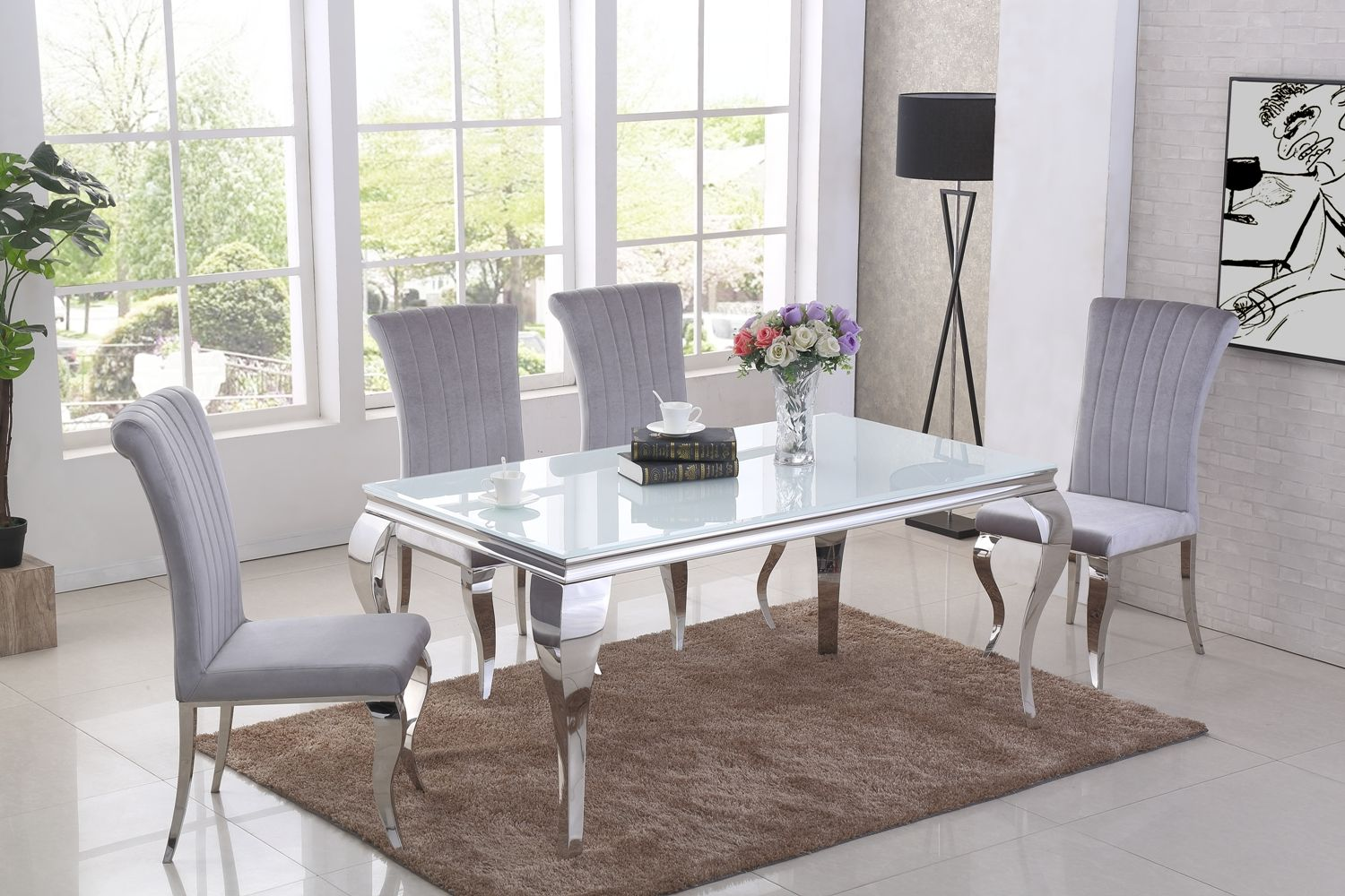 Ga Liyana White Dining Table Amp 4 6 Grey Chairs