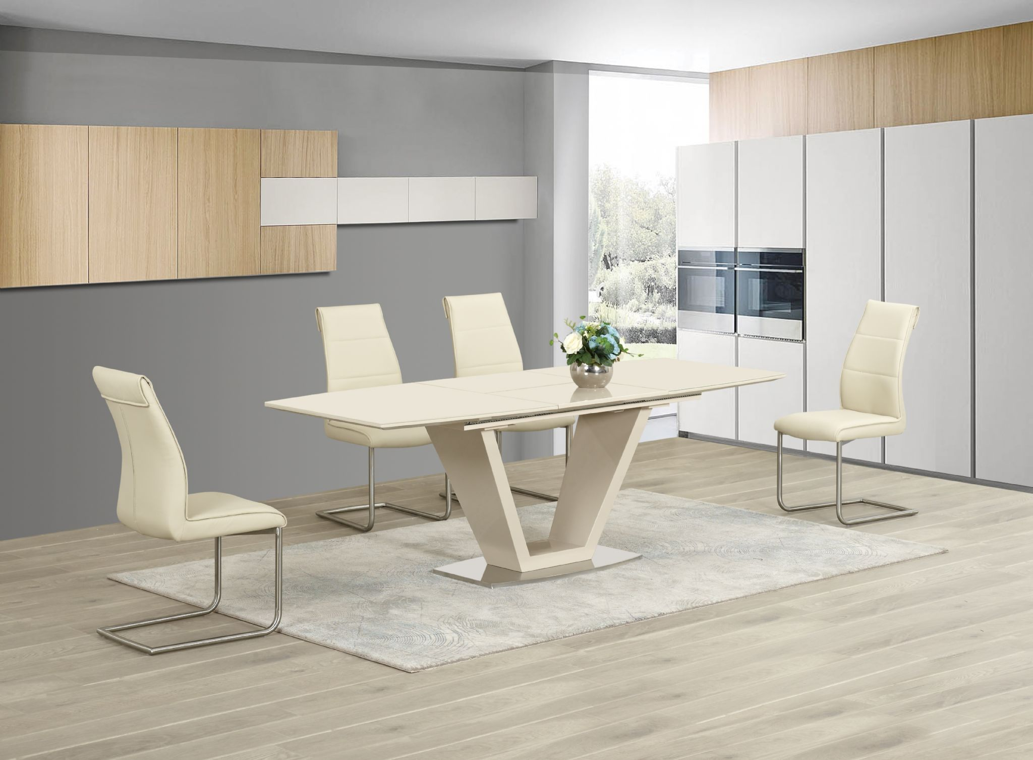 Delightful Modern Dining Room Table Chairs. Ga Loriga Cream Gloss Glass Designer Dining  Table Extending 160