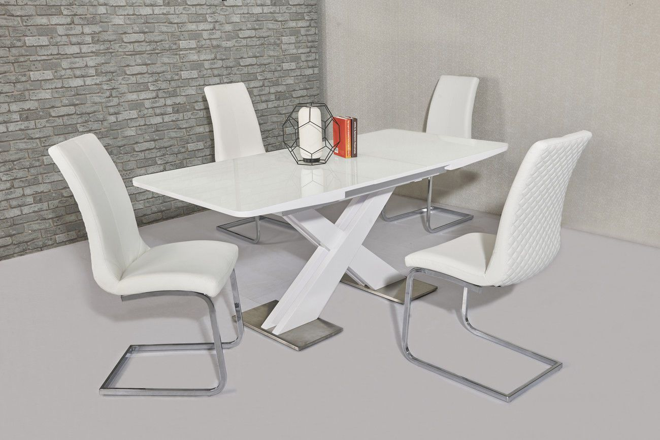 Ga Nirvana Gloss 140 180 Cm Extending White Dining Table Chairs Grey Cream