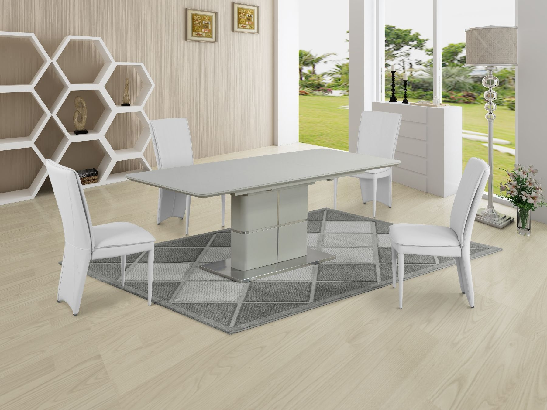 online store 9815d b030f GA Porcelanosa Cream Dining Table & White 4, 6, 8 and 10 Chairs
