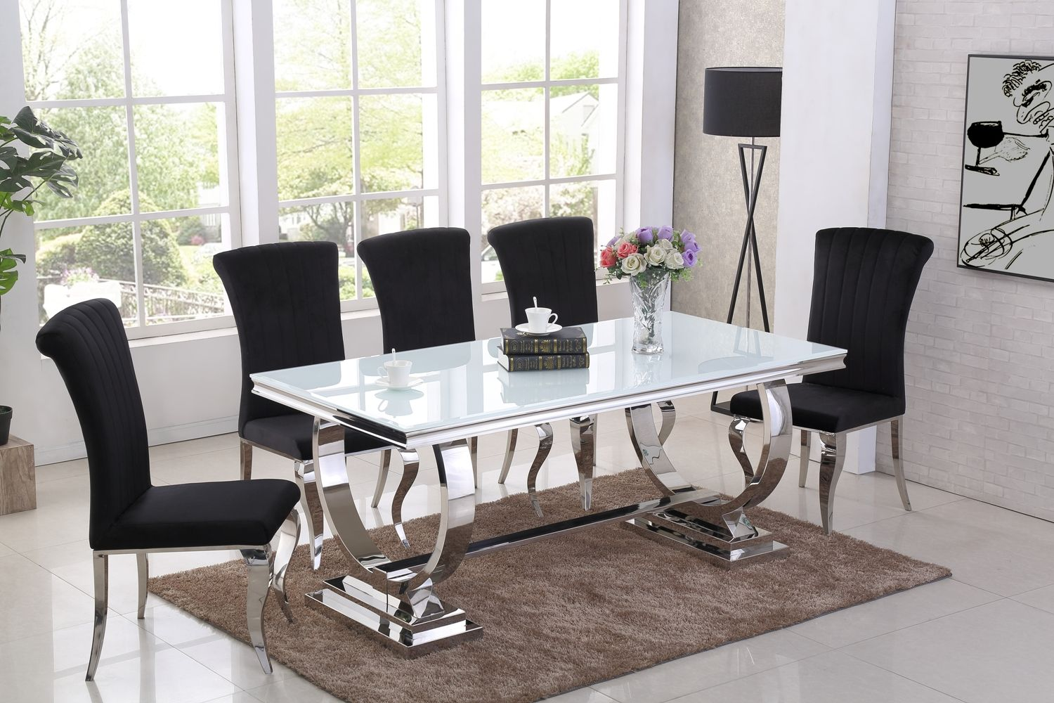 Ga Romano White Dining Table 4 6 8 Black Chairs