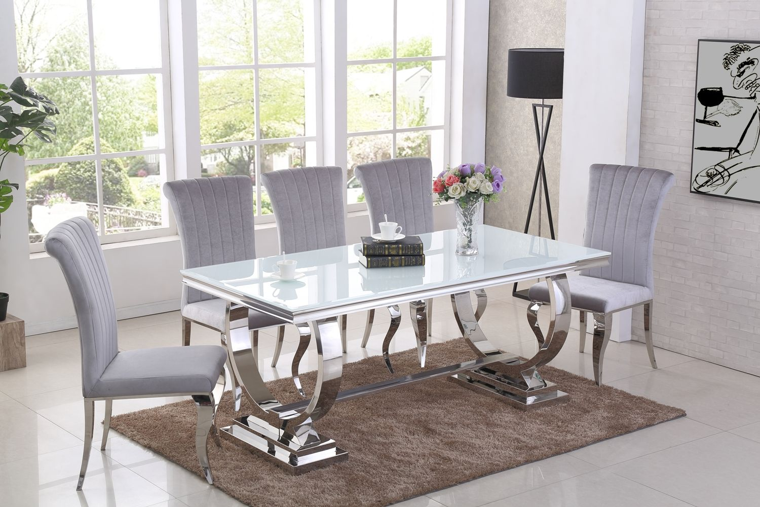 Ga Romano White Dining Table 4 6 8 Grey Chairs