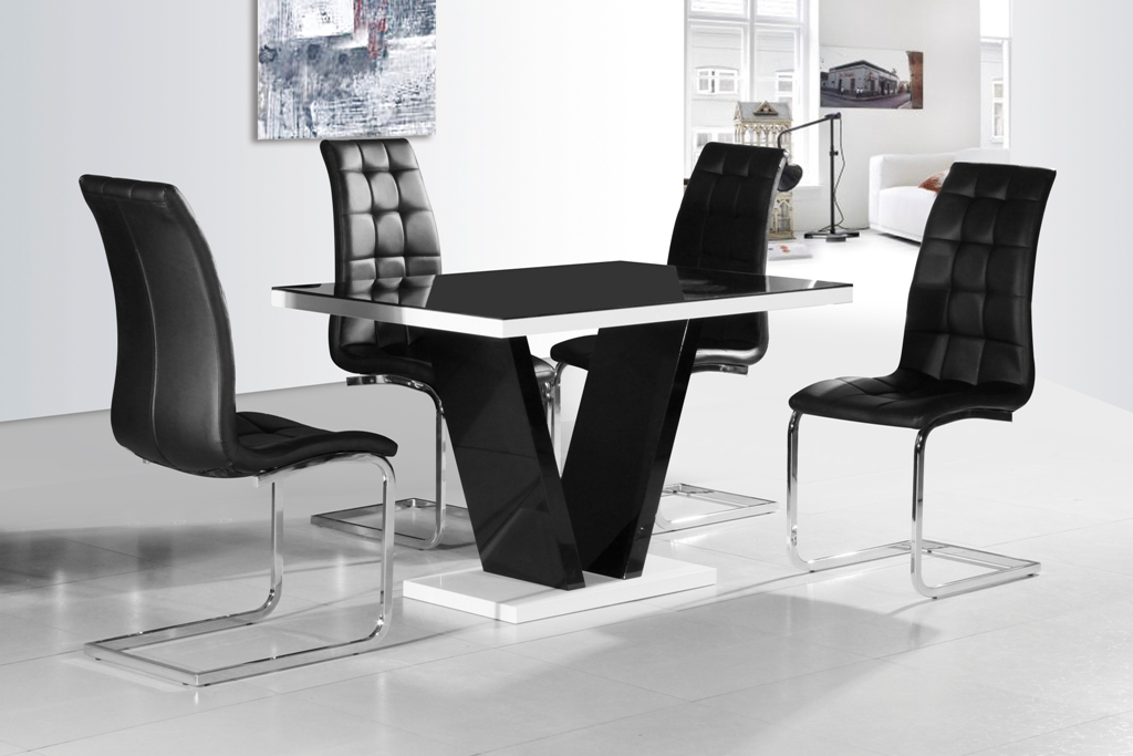 GA Vico BLG White Black Gloss Designer 120 Cm Dining Set 4 Chairs