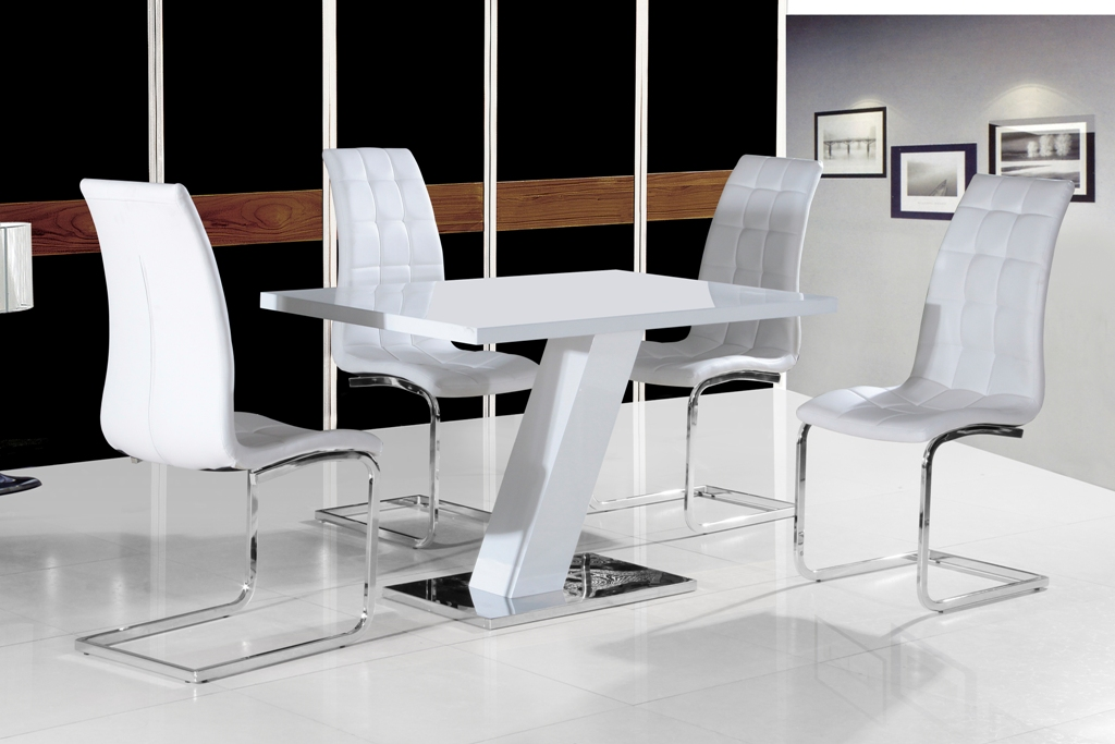 Grazia White High Gloss Contemporary Designer 120 cm Compact Dining
