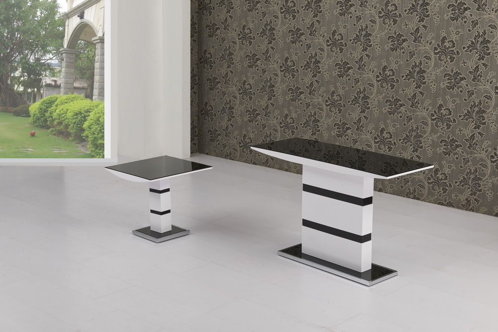 K2 MODERN DESIGNER Black & WHite High Gloss Console Table