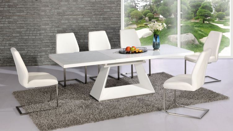 Silvano Extending White High Gloss Contemporary Dining Table Dalia Impressive Contemporary Chairs For Dining Room