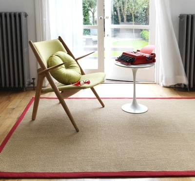 Sisal With Cotton Red Border Rug