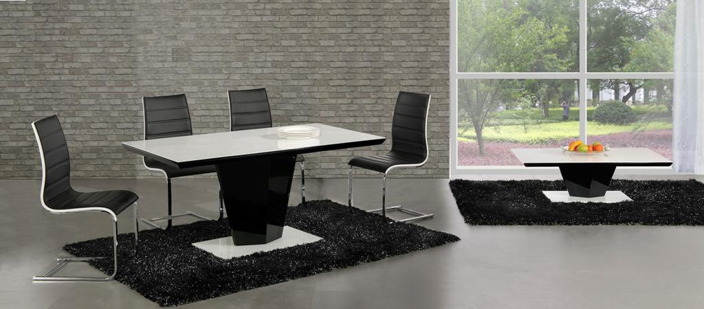 Swish Black High Gloss White Glass Designer Dining Table Only OR With 4 6 Saveo Leather Chairs Set